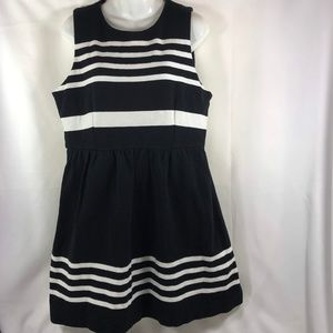 J. Crew Large Black Striped Fit and Flare DRess
